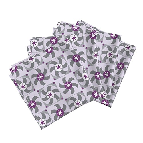 Roostery Computer Organic Sateen Dinner Napkins Violet Fans by Mariao Set of 4 Cotton Dinner Napkins Made
