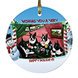 Home of Boston 4 Dogs Playing Poker Photo Round Christmas Ornament