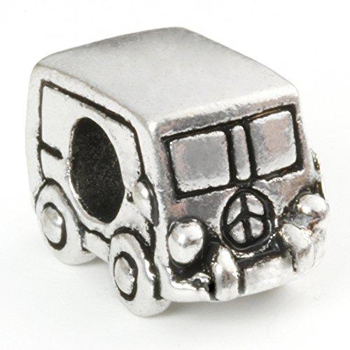 Hidden Gems - 1 x Drops Femme, Plaqué Argent Perle De Charm Européen Camper Van , Caravane Charm