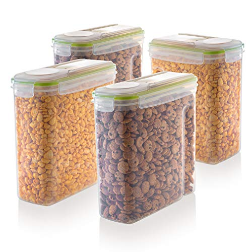 Cereal Storage Container Set - 100% Airtight Dry Food Keeper with Lids - BPA Free Plastic Container with Dispenser - Great for Snacks, Flour, Sugar, coffee Rice & More - Pantry Organizer - 4 Pack