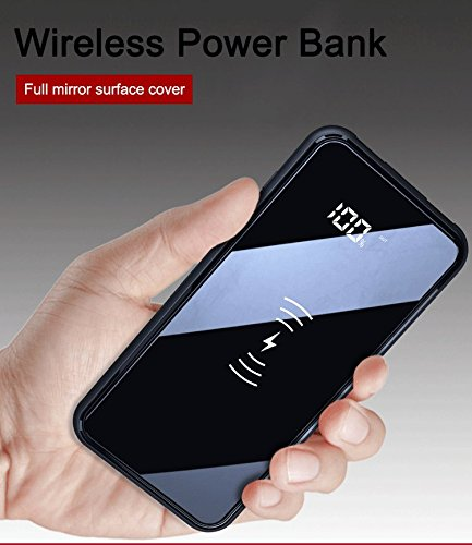 Slim 10000mAh Wireless Charger Power Bank LED Display, Ultra Modern Design for iphoneX, iPhone 8, Galaxy S9, S8 etc by Sawm (Black)