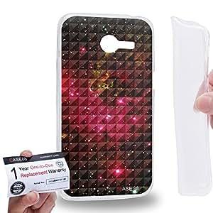 Case88 [Asus Zenfone 4 A400CG] Gel TPU Carcasa/Funda & Tarjeta de garantía - Art Fashion Red Nebula Ombre Pattern Art1348