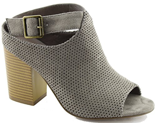 Peep Heel Toe Women Chunky Leatherette GG36 Perforated Suede Bootie Stone 5a74TUA