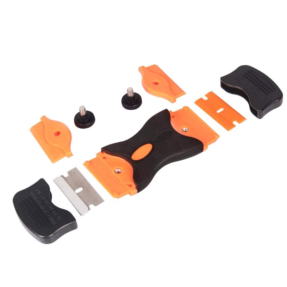 con 10Pcs Cuchillas de Acero y 10Pcs Cuchillas de Pl/ástico QitinDasen Premium 1.5 Doble Cabeza Raspador de Mango de Maquinilla con Tapa de Seguridad Rascador Vitrocer/ámica Rascador Vidrio