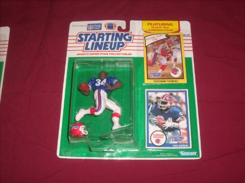 Thurman Thomas Starting Lineup 1990 featuring rookie year collector's card