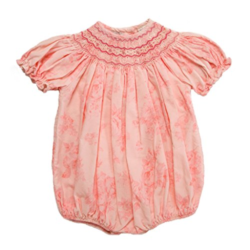 Ruffled Bubble (Carriage Boutique Baby Girls Hand Smocked Bubble Romper w/Ruffled Sleeves & A Floral Print, 9 Months)