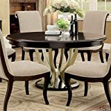BOWERY HILL Round Dining Table in Espresso and Silver