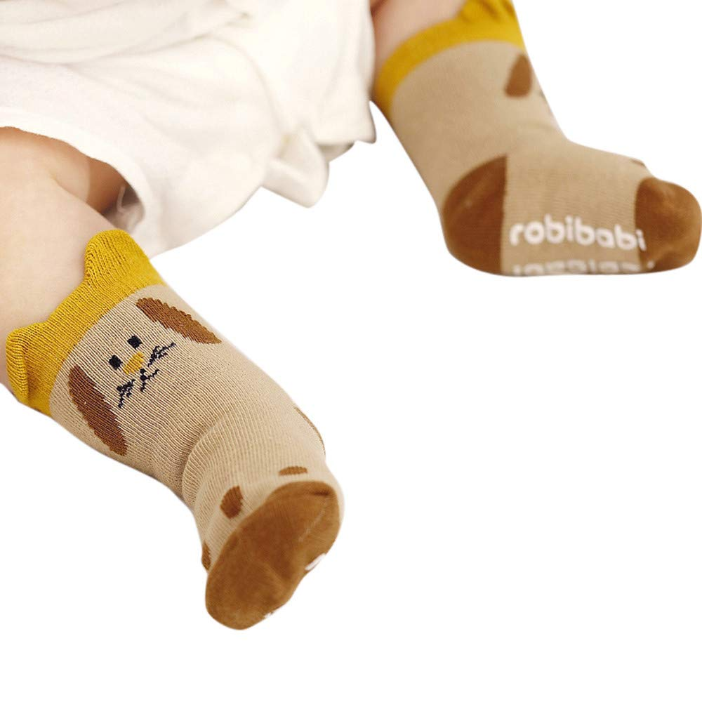 FEITONG Kids Infant Toddler Baby Boys Girls Cartoon Animals Anti-Slip Knitted Warm Socks(0-2T,Brown)