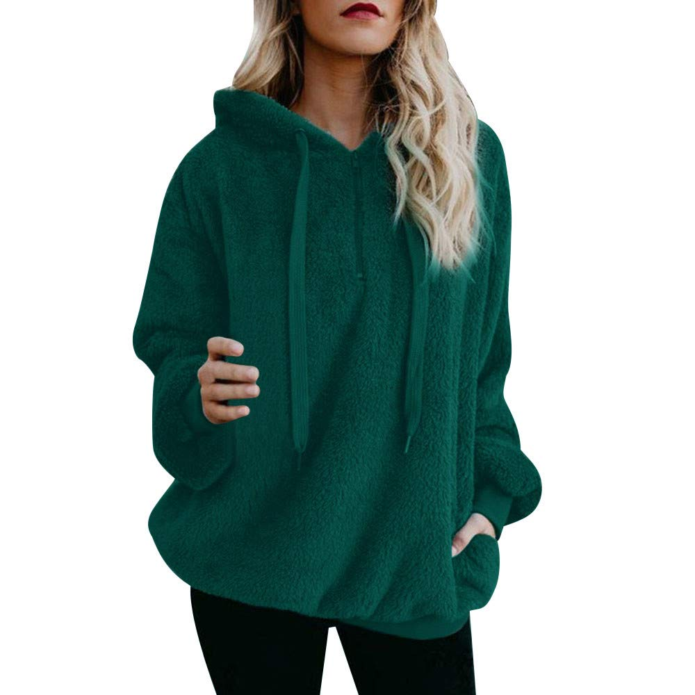PENGYGY Women Top Autumn Winter Long Sleeve Fluffy Warm Blouse Sweatshirt Hoodie Pullover
