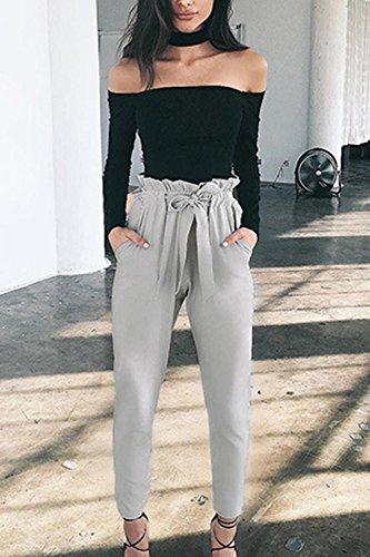Vintage Alta Lady Paperbag Bowknot Pantaloni Ufficio Grey Caviglia Le Donne Vemubapis Eleganti Vita 6gtAw