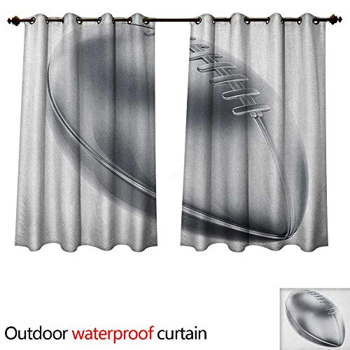 Atomic Football (Anshesix Grey Outdoor Balcony Privacy Curtain Realistic American Football in 3D Style Sports Theme Champion Victory Trophy W55 x L45(140cm x 115cm))