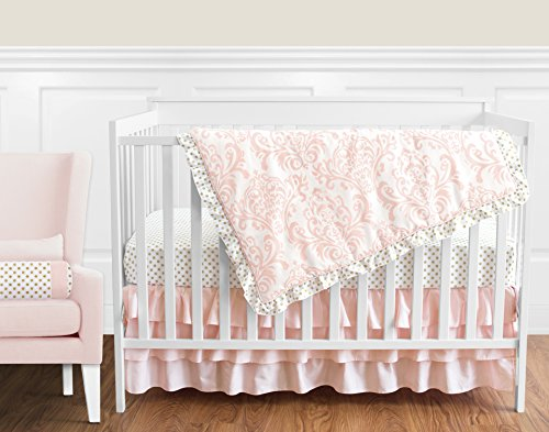 Blush Pink White Damask and Gold Polka Dot Amelia Girl Baby Bedding 4 Piece Crib Set Without (4 Piece Bumper Set)