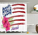Ambesonne Hawaiian Decorations Collection, American Flag Theme Stars and Stripes Hibiscus Leaves Hawaii USA Patriotic Art, Polyester Fabric Bathroom Shower Curtain Set with Hooks, Fuchsia Navy