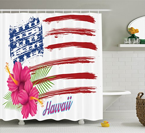 American Themes Collection (Ambesonne Hawaiian Decorations Collection, American Flag Theme Stars and Stripes Hibiscus Leaves Hawaii USA Patriotic Art, Polyester Fabric Bathroom Shower Curtain Set with Hooks, Fuchsia Navy)
