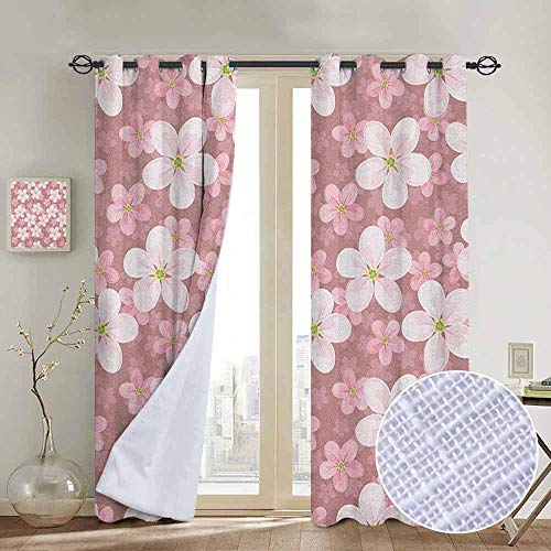 Blackout Curtains Flower,Cherry Blossoms Petal Plant Lovely Cartoon Children Sakura Floret Season, Dried Rose White Green,Thermal Insulated Panels Home Décor Window Draperies for Bedroom a54