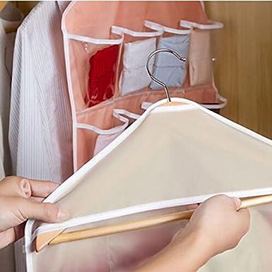 YueLove 16 Pockets Storage Organiser Clear Hanging Bag Over Door Hanging Bag Shoe Rack Hanger Underwear Bra Socks Closet Hanger Storage Organizer