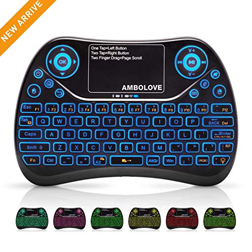 Wireless Mini Keyboard with Touchpad Mouse and Multimedia Keys, 2.4GHZ Portable USB Rechargable Li-ion Battery Android Remote Keyboard Support Smart TV,PC,PAD,Android TV Box,PS4,IPTV
