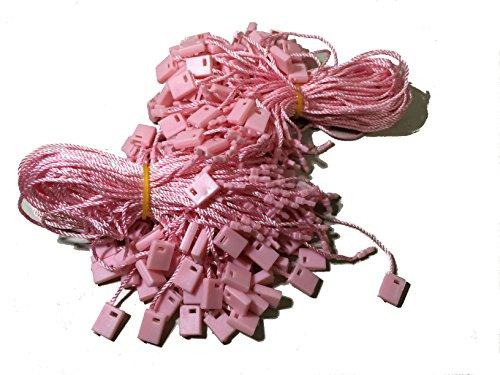 Kang Yuan 7 inch 1000 Pcs Hang Tag Nylon String Snap Lock Pin Loop Fastener Hook Ties (Pink)