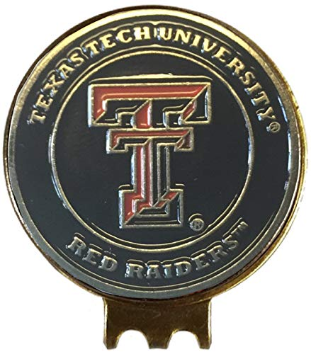Texas TECH RED Raiders Golf Ball Marker ON HAT Clip Great Gift IDEA Big 12 ()