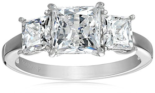 Platinum-Plated Sterling Silver Princess-Cut 3-Stone Ring made with Swarovski Zirconia (3 cttw), Size 8