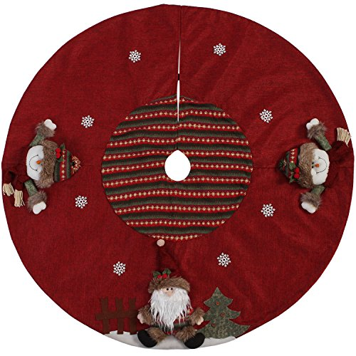 Sea Team 47'' Luxury Collection Cotton Blend & Non-woven Fabric Double-layer Applique Christmas Tree Skirt with Stereoscopic Pop Christmas Elements, Burgundy by Sea Team