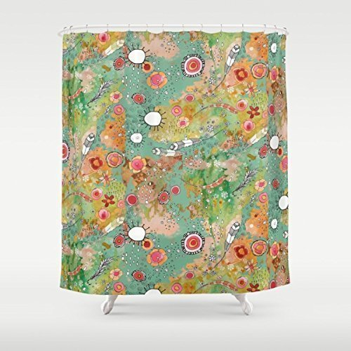 Feathers, suns, flowers shower curtain. Boho gypsy style bathroom accessories. Add a matching bath mat! Artwork by mixed media artist C.Cambrea.