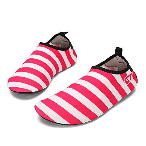 FCKEE Wasser Schuhe Aqua Schuhe Aqua Socken Slip-On Barfuß Leicht Quickdry Durable Sole Mutifunktional Für Strand Schwimmen Surfen Yoga Frauen Kind Ht.red