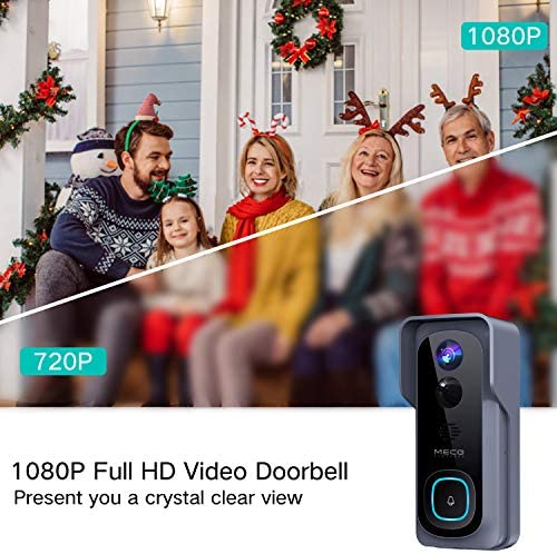 【32GB Preinstalled】WiFi Video Doorbell,MECO 1080P Doorbell Camera with Free Chime, Wireless Doorbell with Motion Detector, Night Vision, IP65 Waterproof, 166°Wide Angle, 2 Way Audio, 2.4GHz WiFi 51uvF0eJ 2BpL