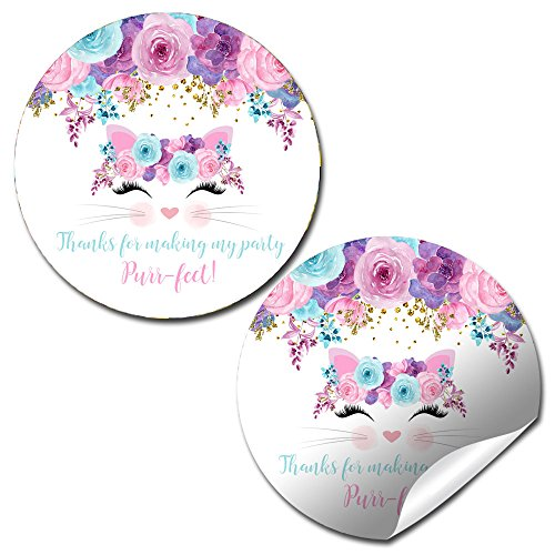 Watercolor Floral Kitty Cat Face Birthday Party Sticker Labels, 20 2'' Party Circle Stickers by AmandaCreation, Great for Party Favors, Envelope Seals & Goodie Bags by Amanda Creation