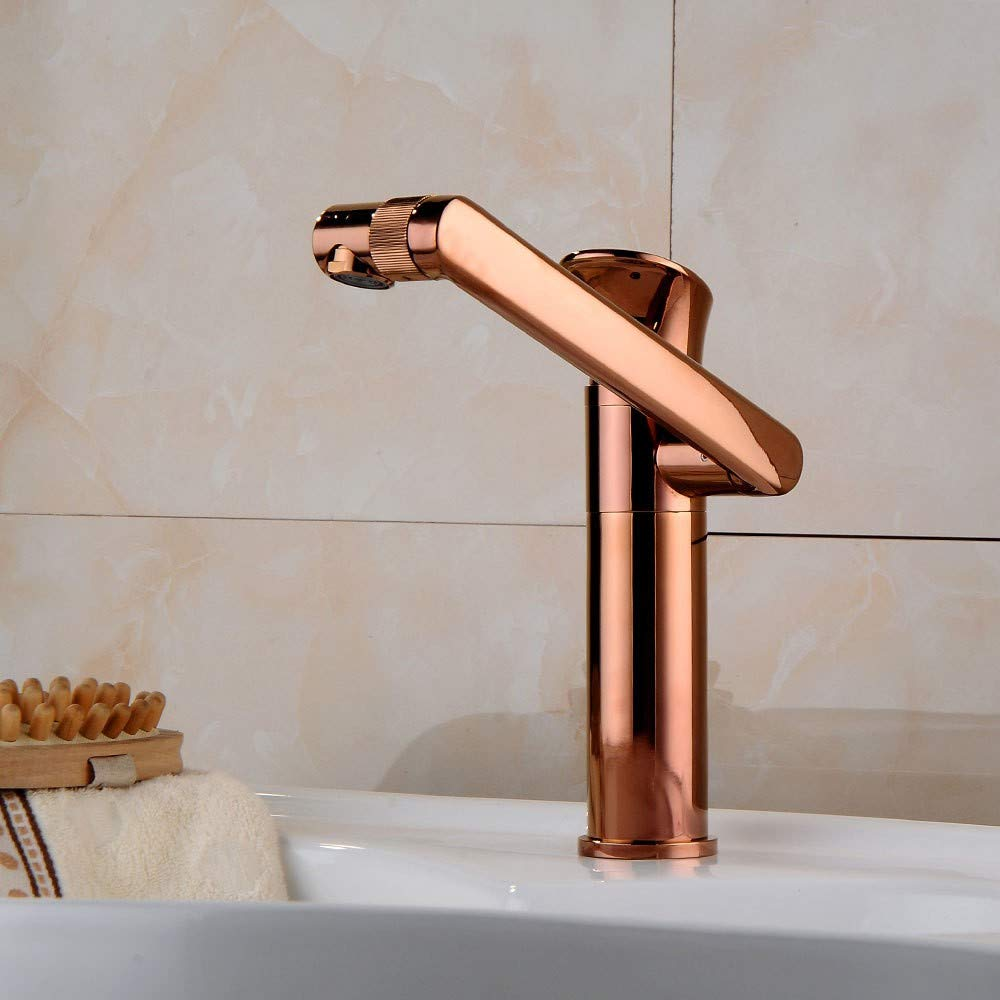 Rmckuva Bathroom Sink Taps Modern redary Basin Faucet Brass Bathroom Creative Mixer pink gold