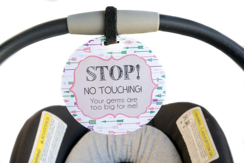 Girl Preemie Sign, Newborn, Baby car seat tag, Baby Shower Gift, Stroller tag, Baby Preemie no Touching car seat Sign Tags4Tots ArrowGirl