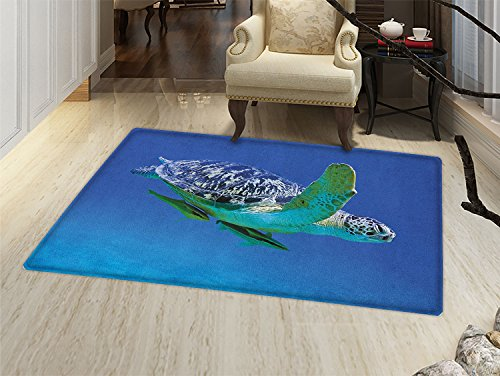 smallbeefly Turtle Door Mats Area Rug Aquatic Theme Photo Tropical Exotic Sea Animal Swim Aquarium Wildlife Floor mat Bath Mat for tub Violet Blue Fern Green