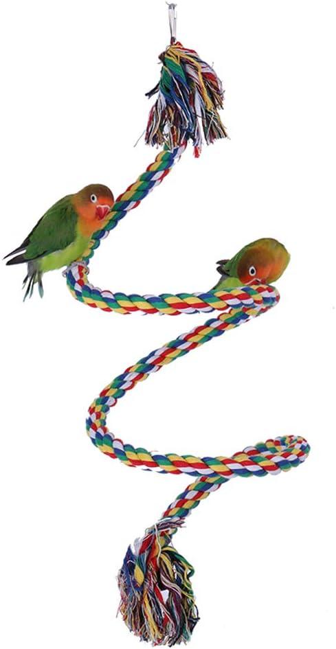 Corda in Cotone Gabbia per Uccelli Scala Rotante Corda da Set da Allenamento per Mordere Pappagallo Altalena Corda da Arrampicata Rotante Color Pappagallo ANANAN Giocattoli per Uccelli