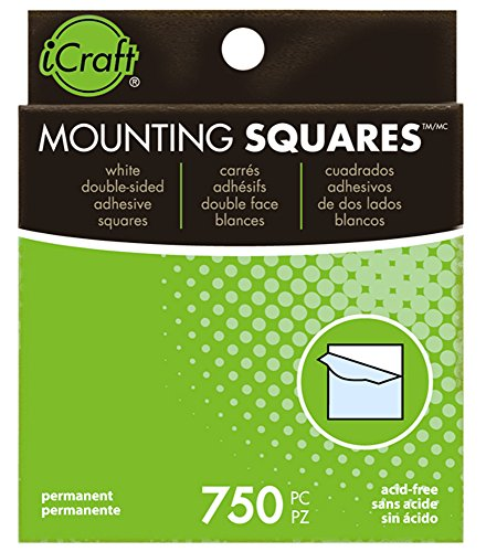 iCraft Mounting Squares Permanent, 750 Count, 1/2 Inch, White