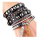 Y-blue Cool Fashion Street Rock Punk Leather Multilayer Bracelet 8 Color