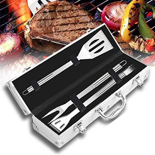 WE-WHLL 3 Pcs BBQ Grill Ustensile Tools Set Pinces Renforcées en Acier Inoxydable Barbecue Gril