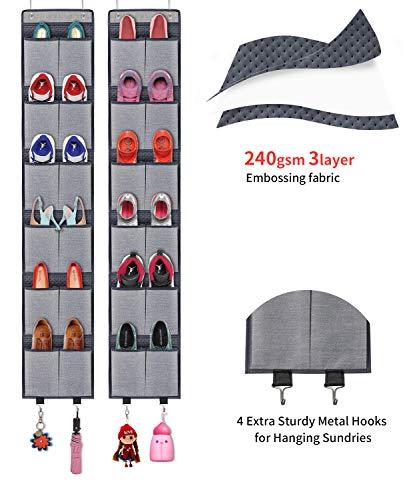 Onlyeasy Over The Door Hanging Shoe Storage Organizer Shoe Rack Set with Total 24 Large Pockets and 4 Sets Metal Hooks Grey, - Pocket Set Four Hanger