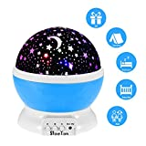 Starry Night Light Lamp, SlowTon Romantic 3 Modes Colorful LED Moon Sky Dreamer Desk Rotating Cosmos Starlight Projector for Children Kids Baby Bedroom (Blue)
