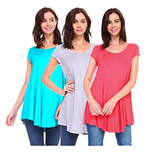 (Isaac Liev Women's 3-Pack Flowy Short Sleeve Tunic Top (X-Large, Jade, Silver & Coral))