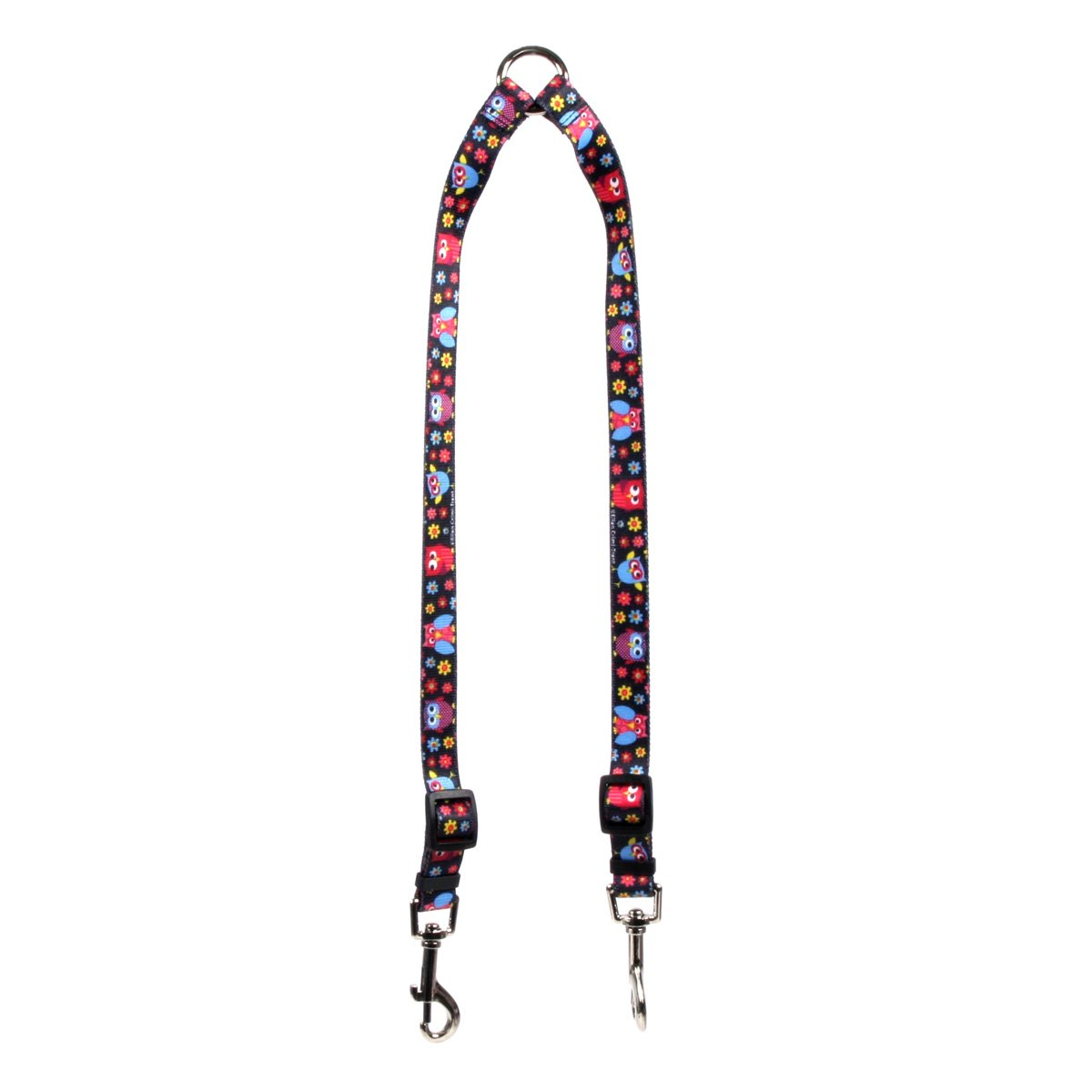 Medium Yellow Dog Design Bright Owls Coupler Dog Leash 3 4  Wide And 12 To 20  Long, Medium