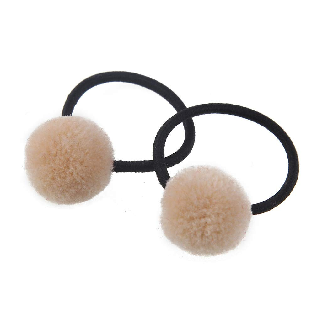 DARLING HER 10Pcs Children Girls Cute Elastic Hair Bands Headwear Kids Small Pompon Ball Ponytail Holder Rubber Bands Hair Accessories Beige L