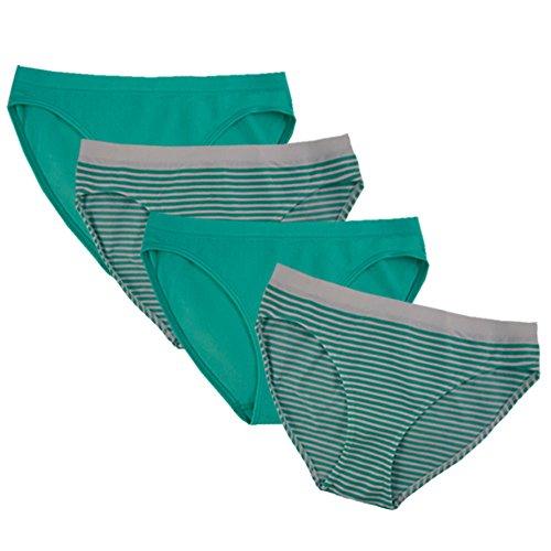 Bikini Briefs Girls (FEM Girl Seamless Bikini Panties for Girls - 2 Pack or 4 Pack (Large, Green / 4 Pck))