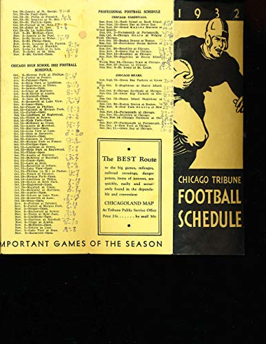 1932 Chicago Cardinals and Bears and college football pocket schedule ()