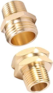 """ZKZX Garden Hose Adapter,3/4"""" GHT Male x 1/2"""" NPT Male Connector with 3/4"""" GHT Female x 1/2"""" NPT Male Connector,Brass Pipe to Garden Hose Fitting Connect (1/2 Couple)"""