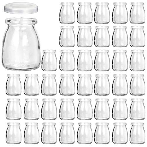 Glass Jars, KAMOTA 40 PACK 4oz Clear Yogurt Jars With PE Lids, Glass Pudding Jars Yogurt Jars Ideal for Jam, Honey, Wedding Favors, Shower Favors, Baby Foods (150ml)]()