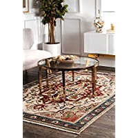 nuLOOM KHTR06B Regal Border Medallion Fringe Runner Rug, 2 6 x 8 , Red
