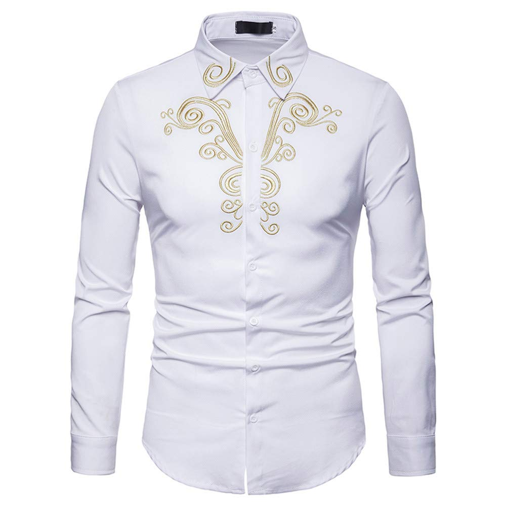 GREFER Mens Long Sleeve Shirt Luxury Gold Embroidery Top Blouse Casual Button-Down Shirts