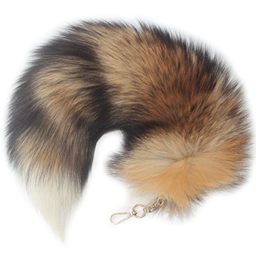 Chunxiao Supper Huge and Fluffy Sunny Fox Tail Fur Cosplay Toy Handbag Accessories Key Chain Ring Hook Tassels Red with White Tip