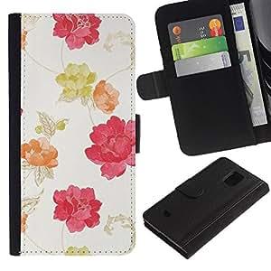 LASTONE PHONE CASE / Lujo Billetera de Cuero Caso del tirón Titular de la tarjeta Flip Carcasa Funda para Samsung Galaxy S5 Mini, SM-G800, NOT S5 REGULAR! / Watercolor Beige Pink Red Yellow