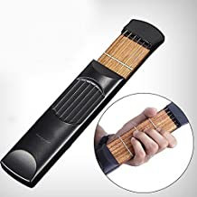 Luvay Portable Pocket Guitar Practice Strings Wooden Tool Gadget for Beginner(4 Fret)